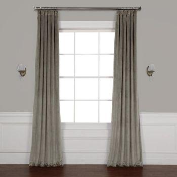 Exclusive Fabrics Furnishings Destiny Grey Plush Velvet Curtain 50 In W X 84 In L Home Depot