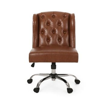 Rebecca Cocoa Bonded Leather Tufted Office Chair With Nailheads With Espresso Base Coca Bonded Leather Home Depot