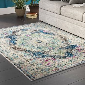 Amanah Power Loom Green Gray Rug Wayfair