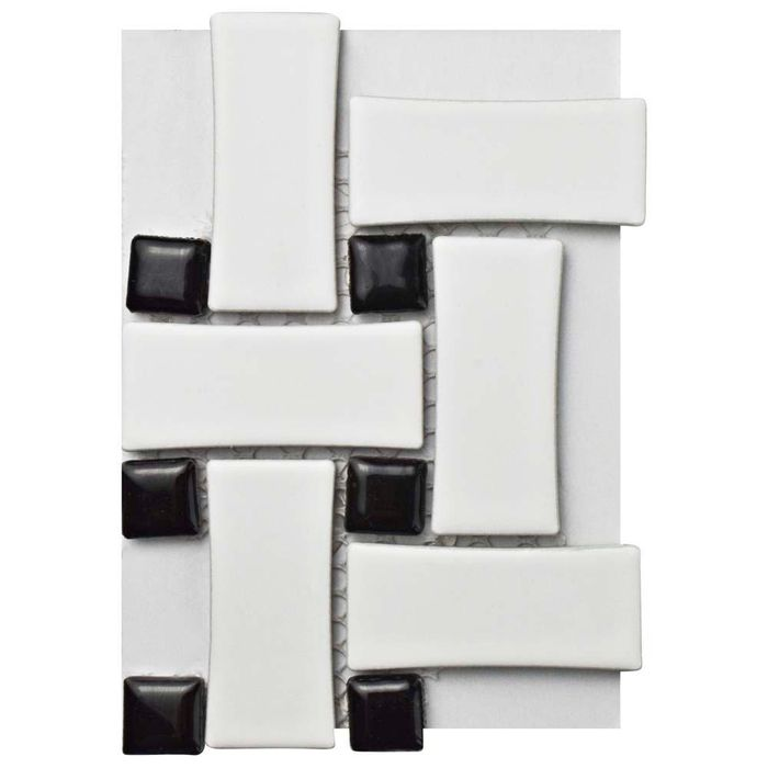Merola Tile Metro Basket Weave Matte White And Black Porcelain Mosaic 3 In X 4 Sample Glossy Mixed Finish Home Depot