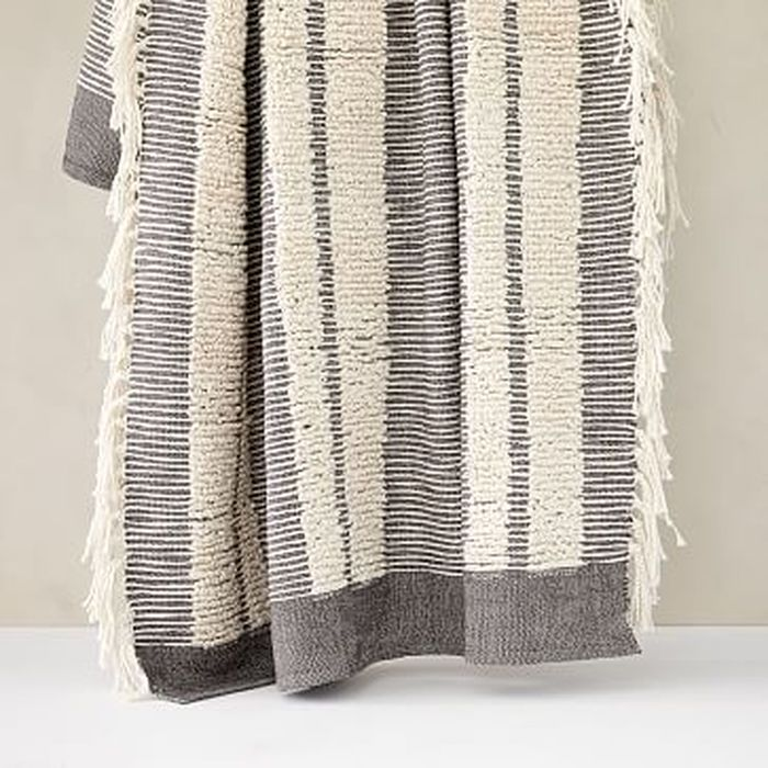"""West Elm Tufted Lines Throw 50/""""x60/"""" Pewter NEW in the package"""