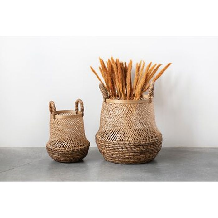 Handwoven 2 Piece Solid Wood Basket Set Wayfair