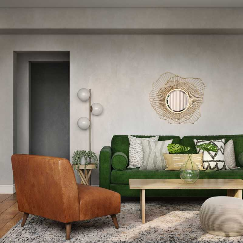 Bohemian, Midcentury Modern Living Room Design by Havenly Interior Designer Masooma