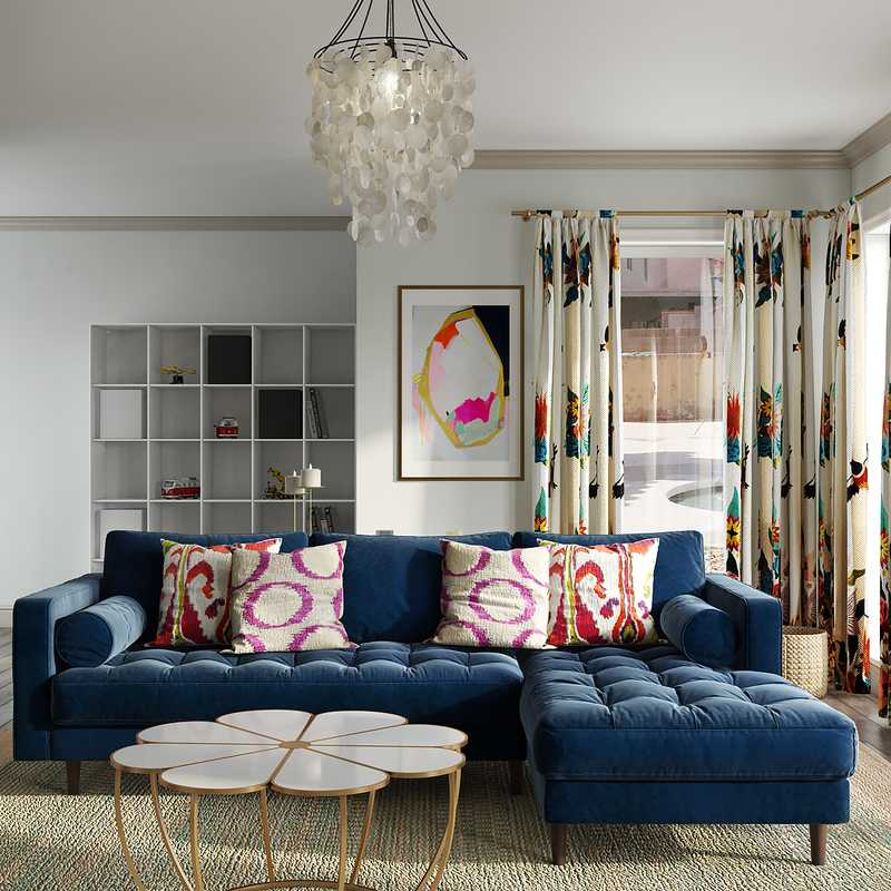 Contemporary, Eclectic Living Room Design by Havenly Interior Designer Chelsea