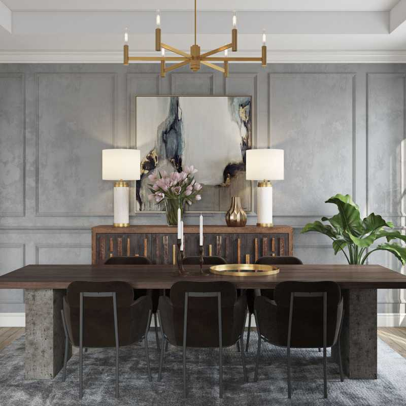 Contemporary, Modern, Glam Dining Room Design by Havenly Interior Designer Karen