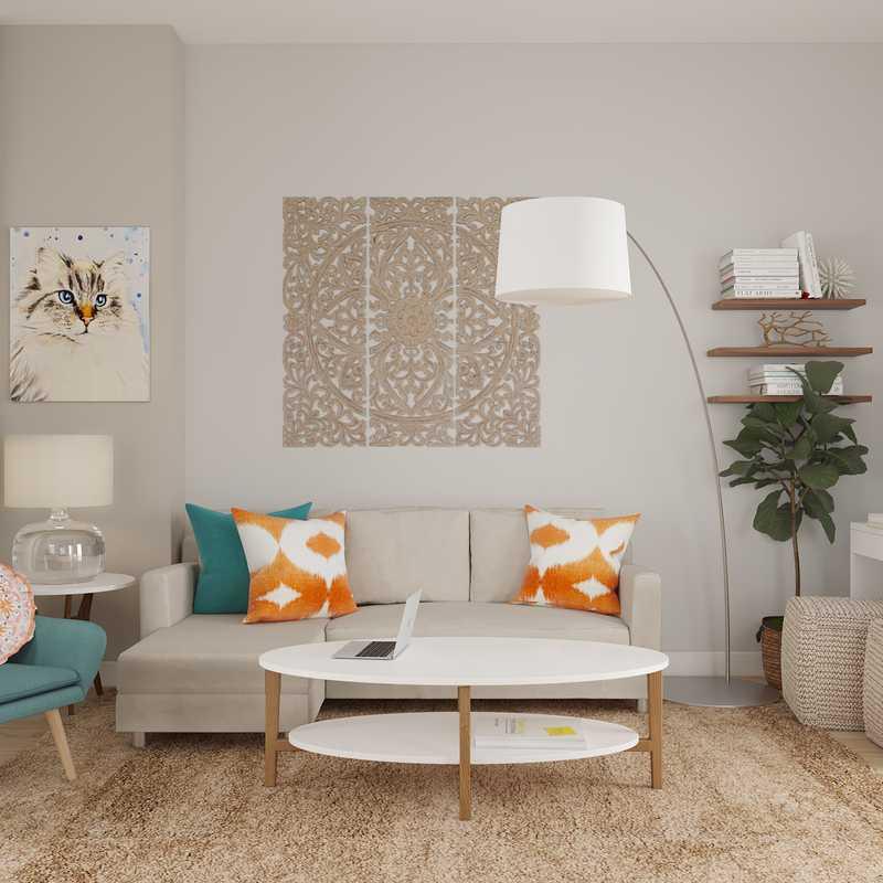 Contemporary, Eclectic, Midcentury Modern Living Room Design by Havenly Interior Designer Amanda