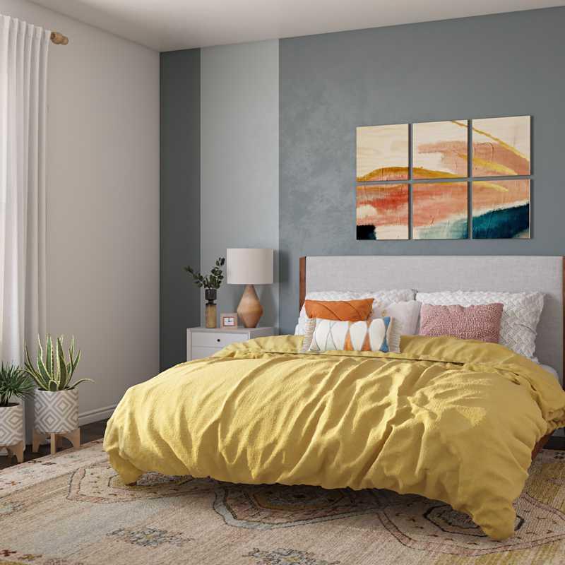 Eclectic, Bohemian, Midcentury Modern Bedroom Design by Havenly Interior Designer Patrice
