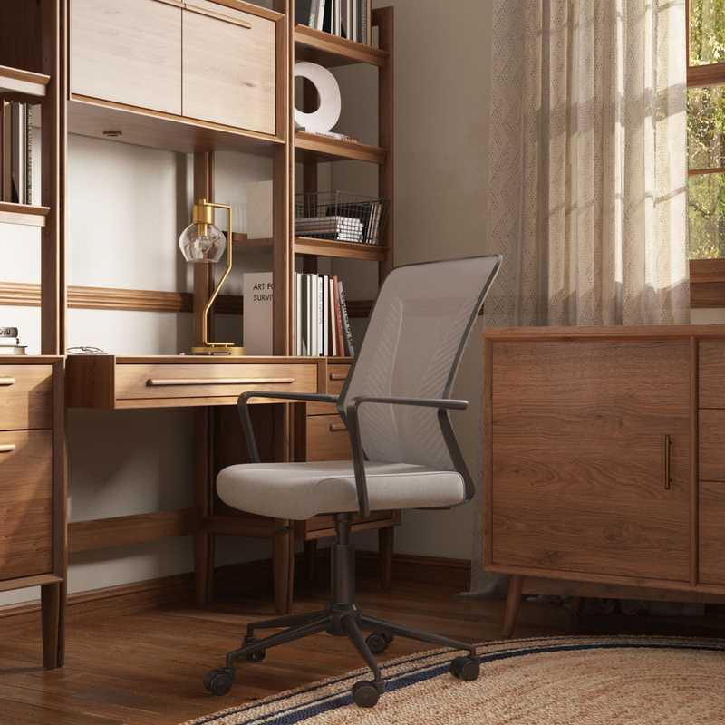 Coastal, Transitional, Midcentury Modern Office Design by Havenly Interior Designer Francesca