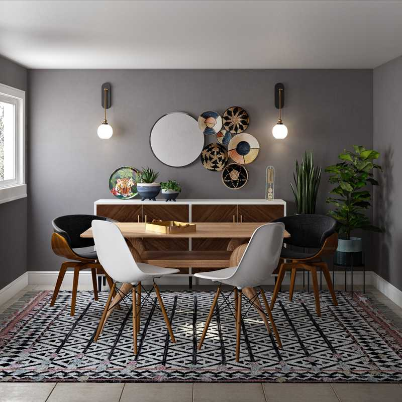 Modern, Eclectic, Bohemian, Midcentury Modern Dining Room Design by Havenly Interior Designer Natalie