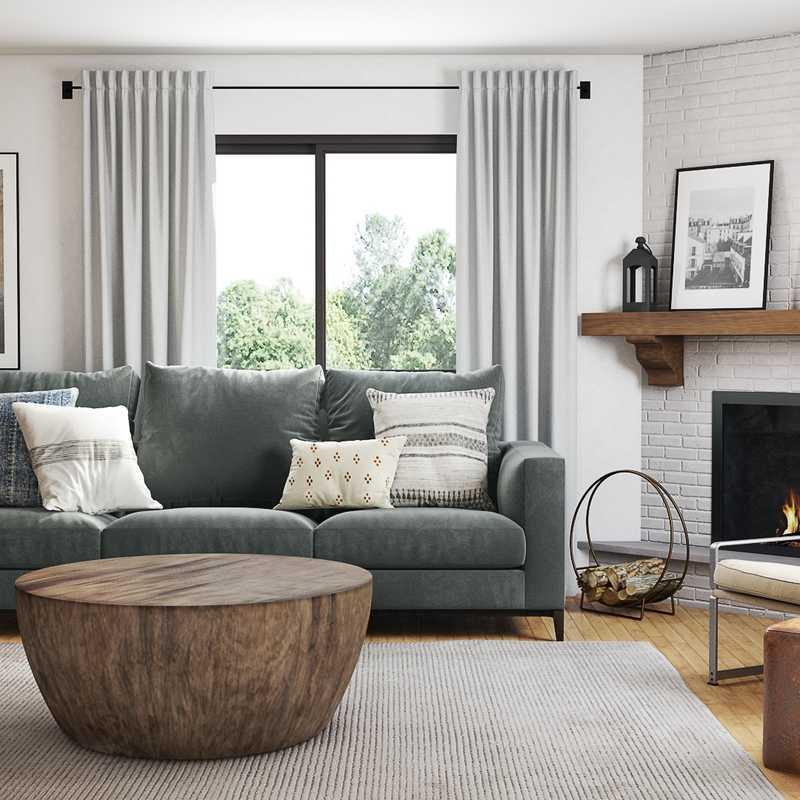 Bohemian, Midcentury Modern, Scandinavian Living Room Design by Havenly Interior Designer Alexis