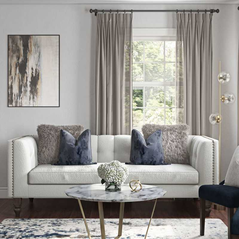 Glam, Transitional, Preppy Living Room Design by Havenly Interior Designer Elizabeth