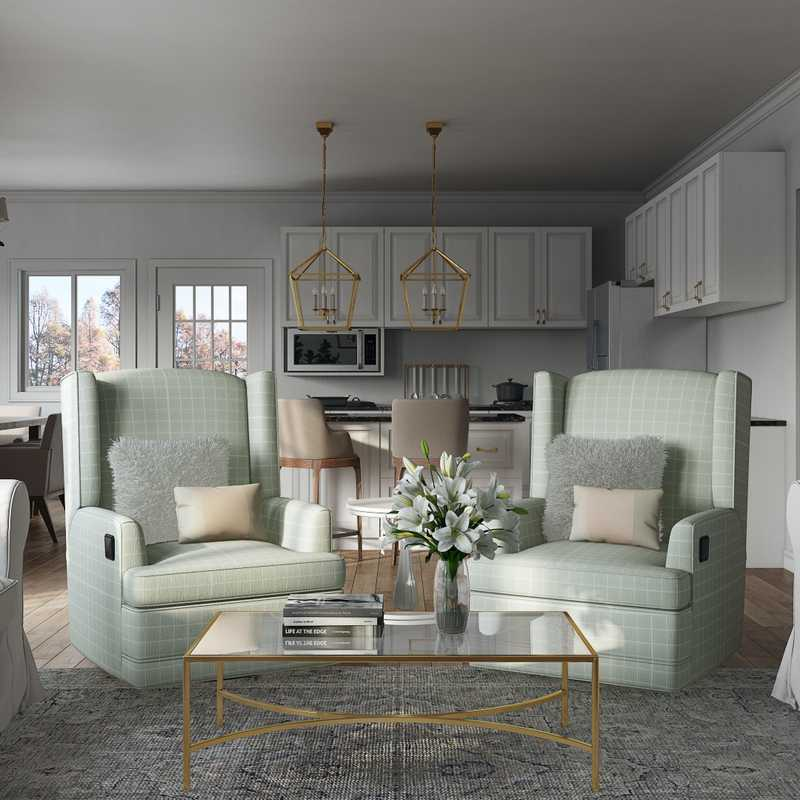 Contemporary, Farmhouse Living Room Design by Havenly Interior Designer Sandra
