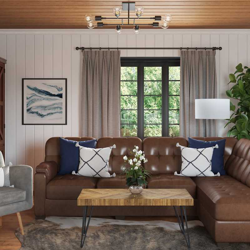 Modern, Industrial, Farmhouse, Rustic Living Room Design by Havenly Interior Designer Samantha
