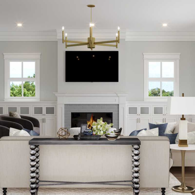 Contemporary, Glam Living Room Design by Havenly Interior Designer Amy