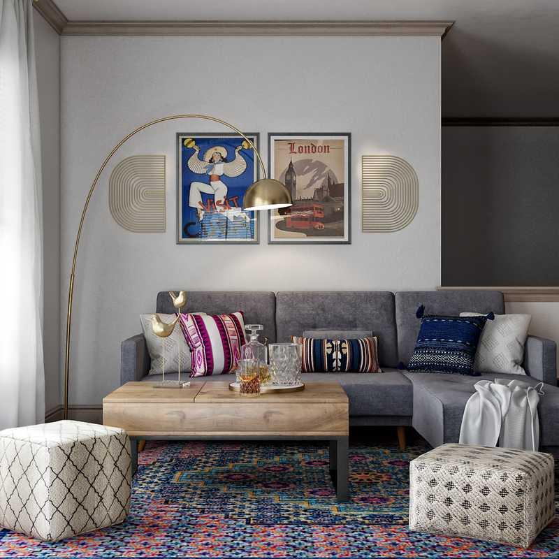 Eclectic, Transitional, Global Living Room Design by Havenly Interior Designer Shaina
