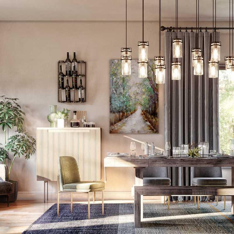 Rustic, Midcentury Modern Dining Room Design by Havenly Interior Designer Kaitlin