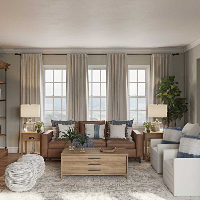 Coastal, Farmhouse Living Room Design by Havenly Interior Designer Kaity