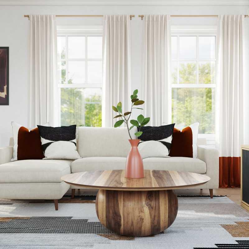 Eclectic, Bohemian, Global, Midcentury Modern, Scandinavian Living Room Design by Havenly Interior Designer Sarah