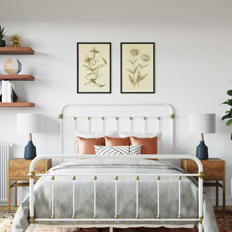 Eclectic, Bohemian, Midcentury Modern Bedroom Design by Havenly Interior Designer Brittney