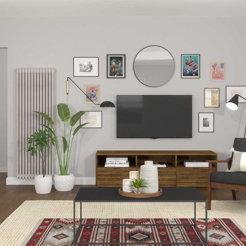 Bohemian, Industrial Living Room Design by Havenly Interior Designer Lindsay
