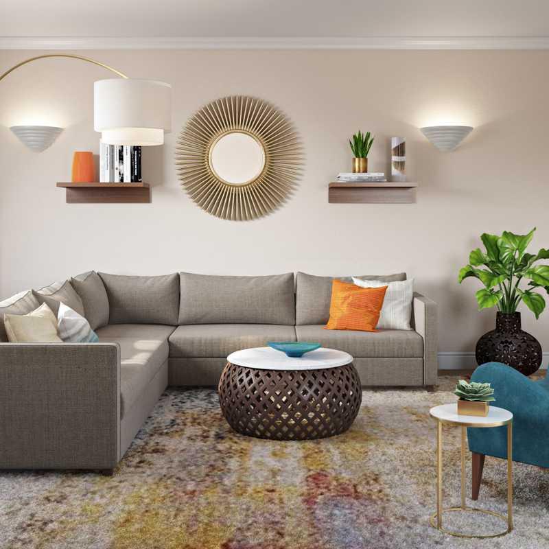 Glam, Midcentury Modern Living Room Design by Havenly Interior Designer Jacquelyn