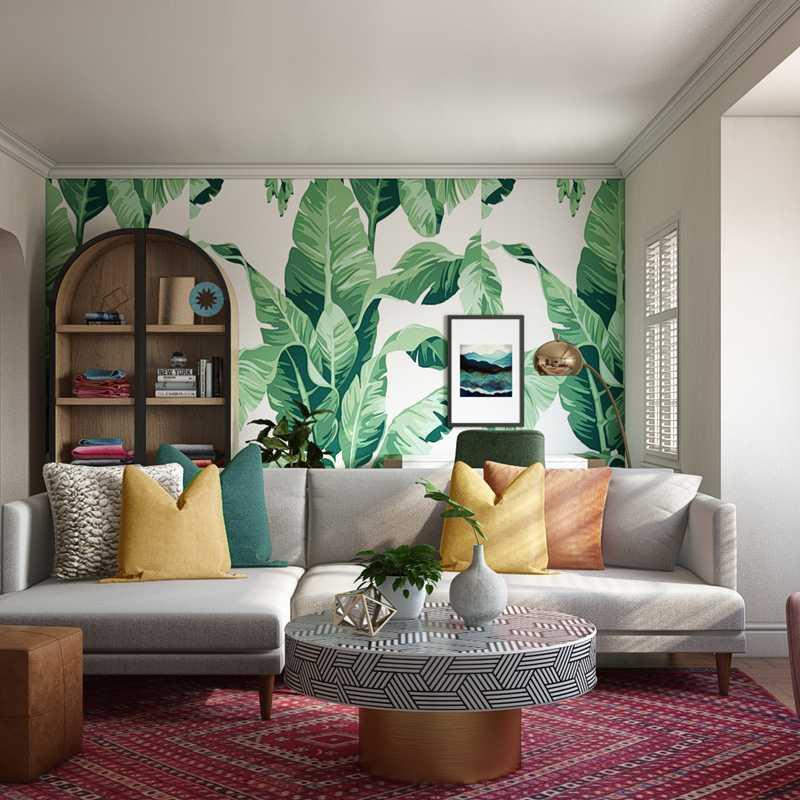 Bohemian, Glam, Midcentury Modern Living Room Design by Havenly Interior Designer Alexandra