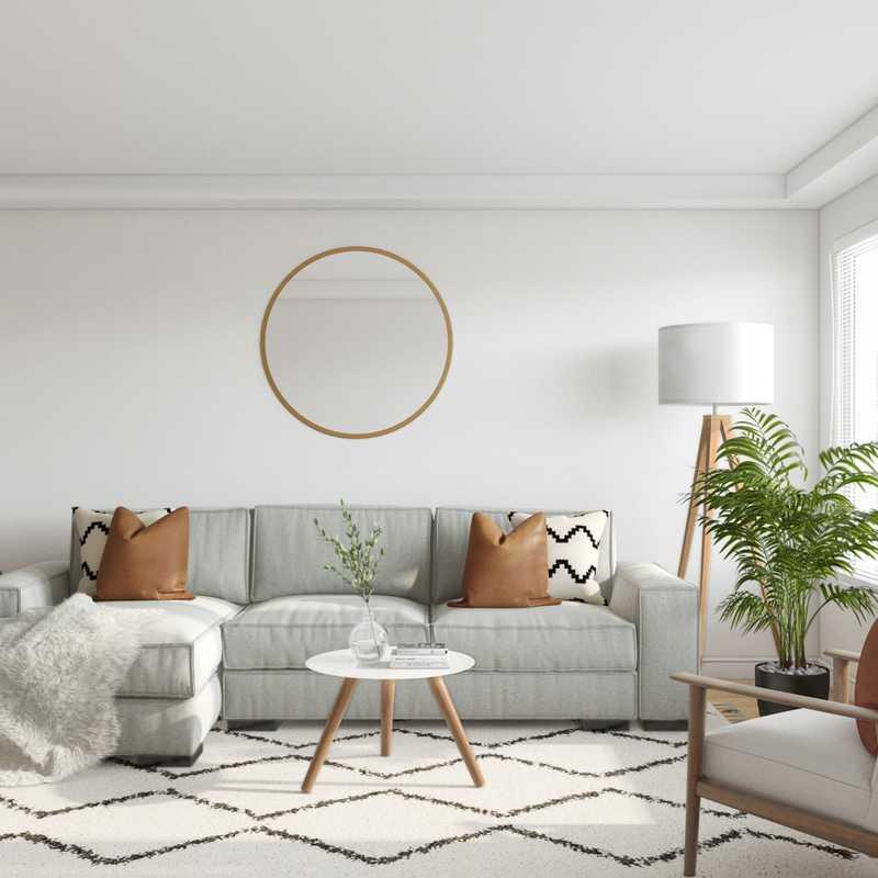Bohemian, Midcentury Modern Living Room Design by Havenly Interior Designer Carsey