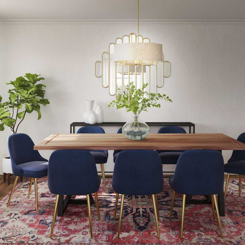 Eclectic, Bohemian, Midcentury Modern Dining Room Design by Havenly Interior Designer Sarah