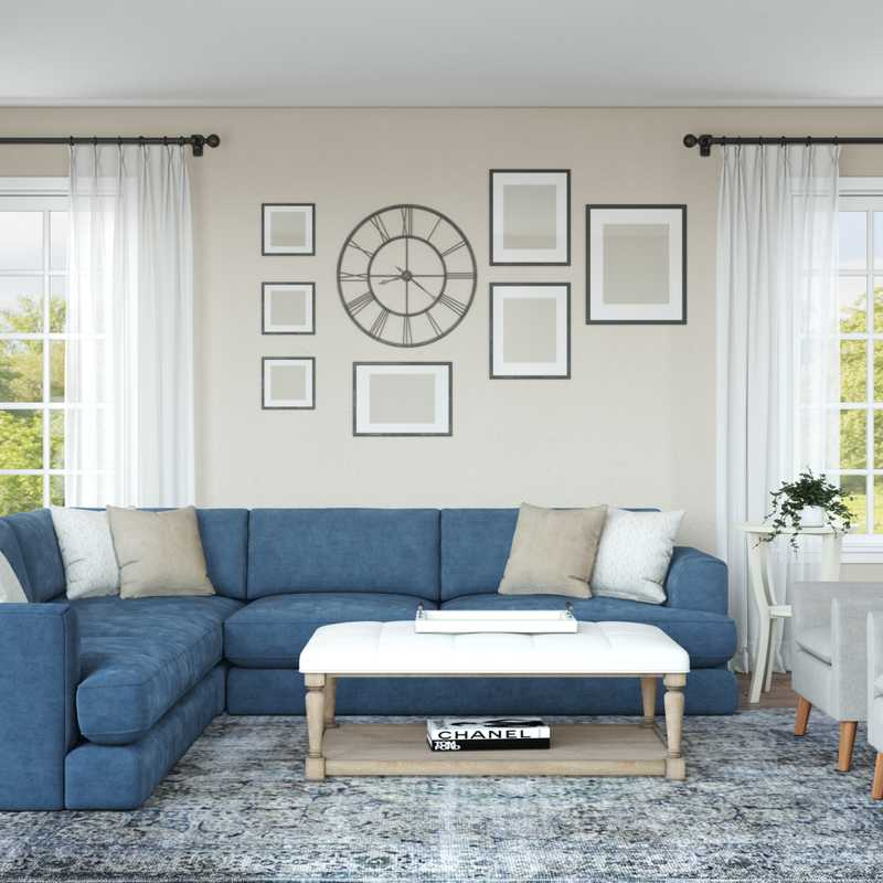 Coastal, Farmhouse, Transitional Living Room Design by Havenly Interior Designer Rachel