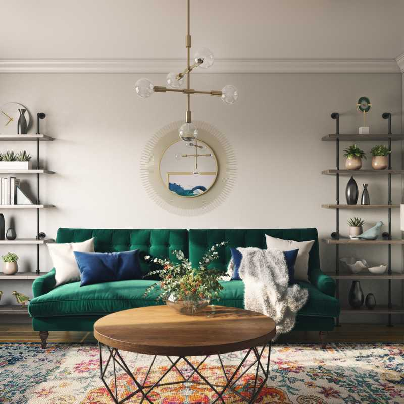 Glam, Midcentury Modern Living Room Design by Havenly Interior Designer Carly