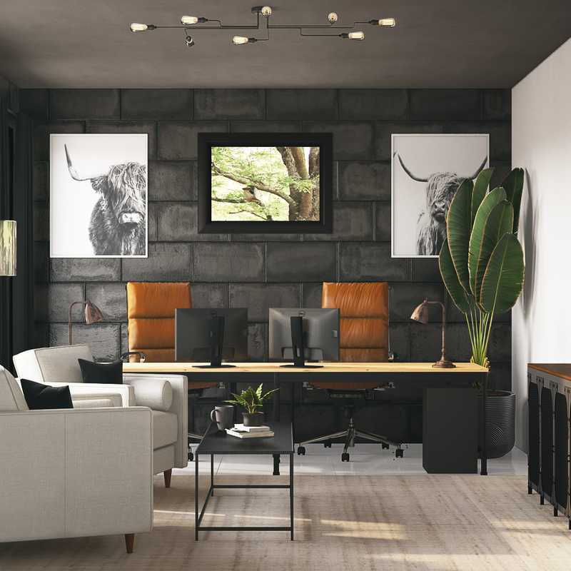 Modern, Industrial, Midcentury Modern, Scandinavian Office Design by Havenly Interior Designer Tori