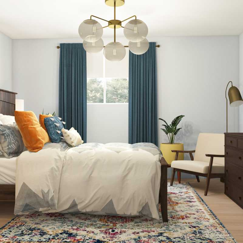 Bohemian, Midcentury Modern Bedroom Design by Havenly Interior Designer Dani