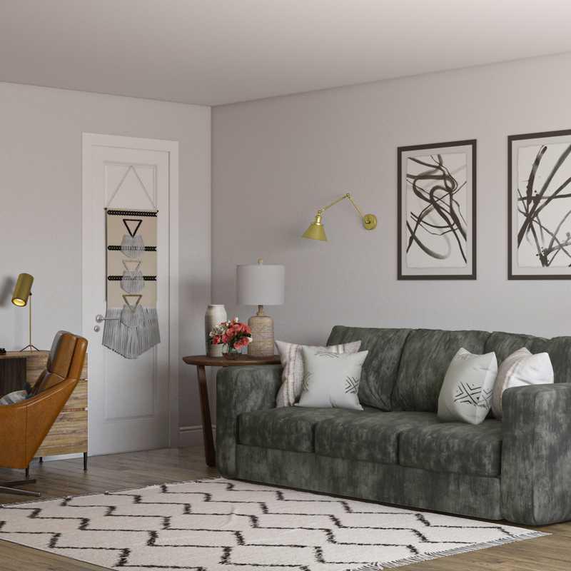 Bohemian, Midcentury Modern Living Room Design by Havenly Interior Designer Kristina