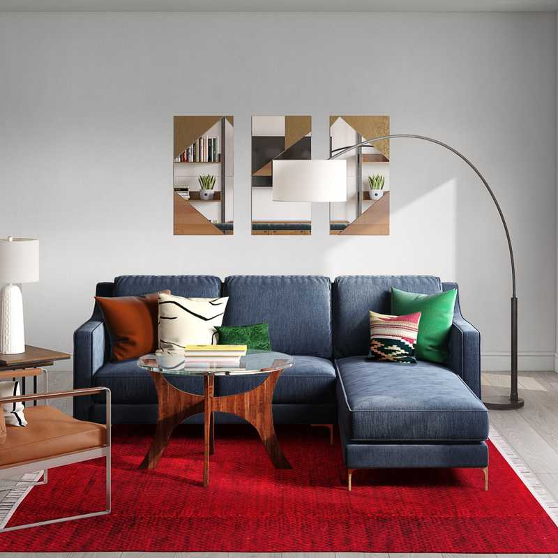 Contemporary, Eclectic, Glam, Midcentury Modern Living Room Design by Havenly Interior Designer Dani