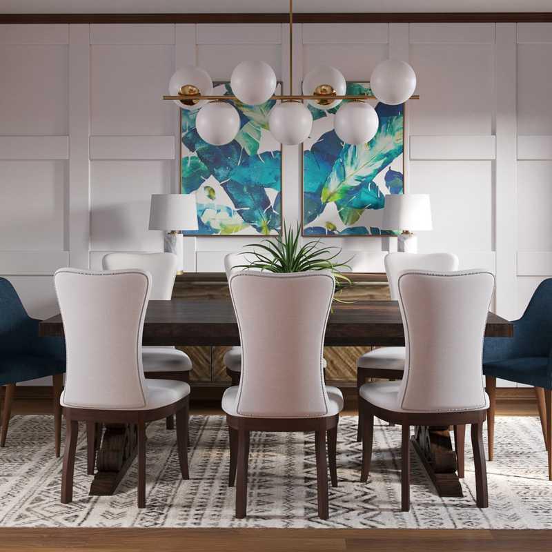 Eclectic, Industrial Dining Room Design by Havenly Interior Designer Natalie