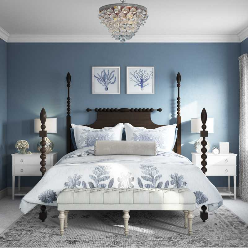Coastal, Farmhouse, Transitional Bedroom Design by Havenly Interior Designer Allie