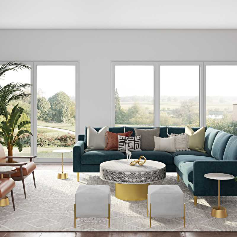 Contemporary, Modern, Eclectic, Bohemian, Glam, Global Living Room Design by Havenly Interior Designer Ghianella