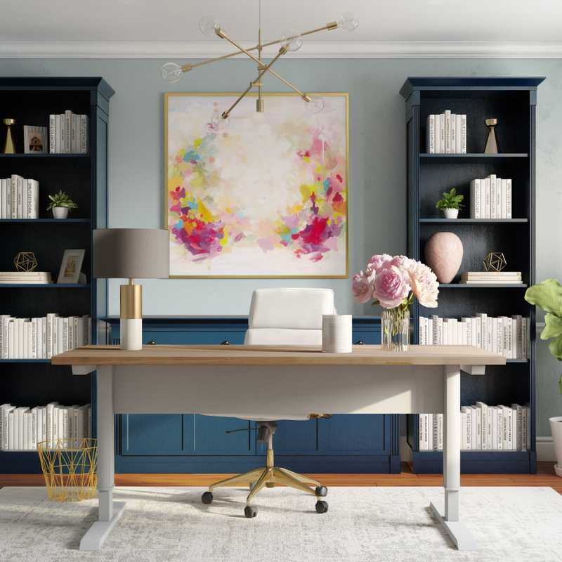 Modern, Eclectic, Glam Office Design by Havenly Interior Designer Hayley