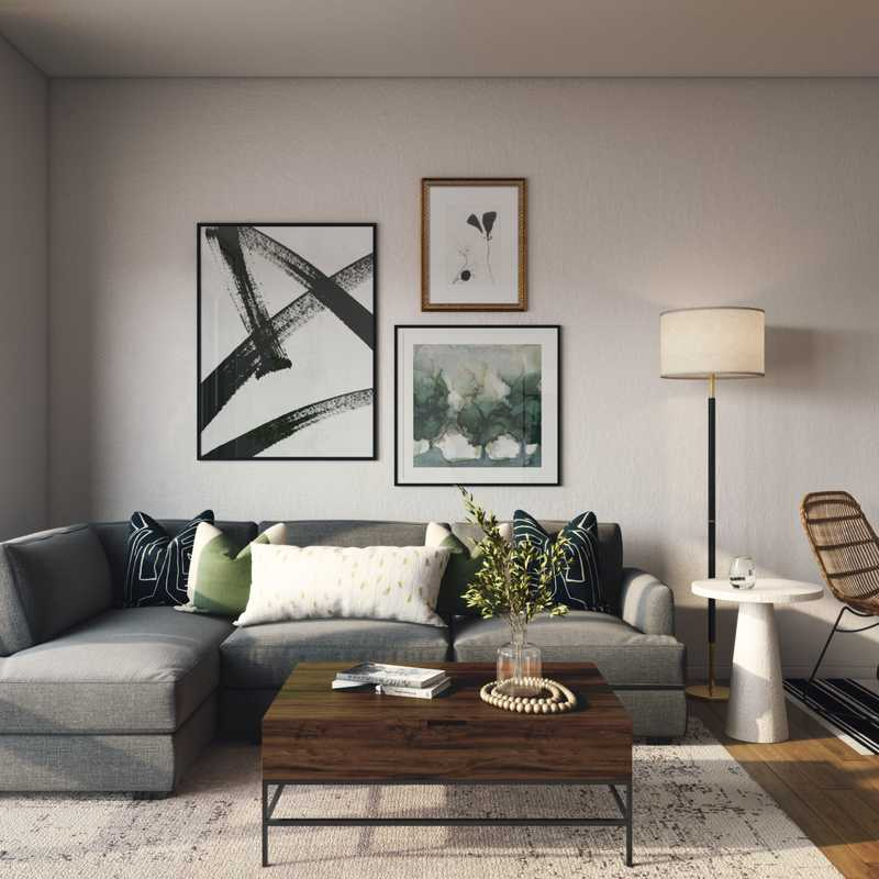 Eclectic, Glam, Rustic, Midcentury Modern, Scandinavian Living Room Design by Havenly Interior Designer Taylor