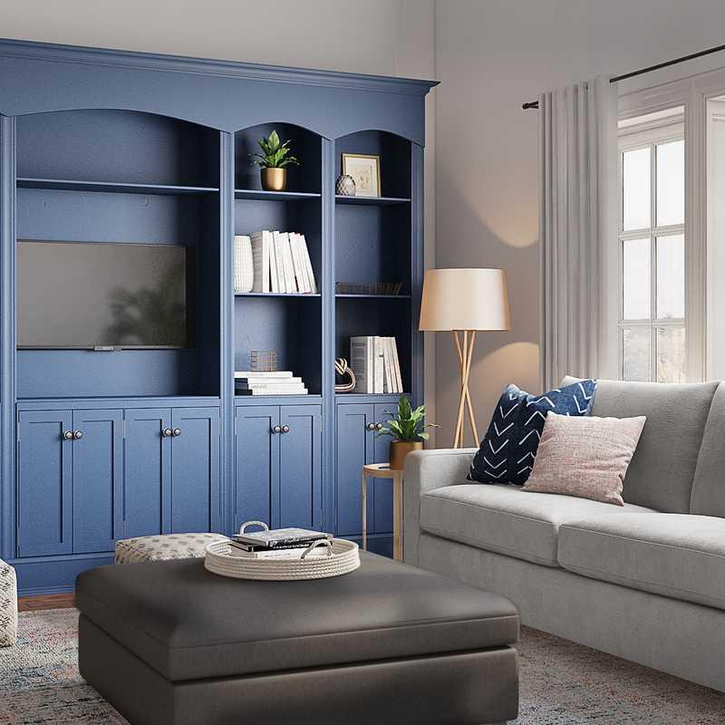 Modern, Transitional, Midcentury Modern Living Room Design by Havenly Interior Designer Brenna