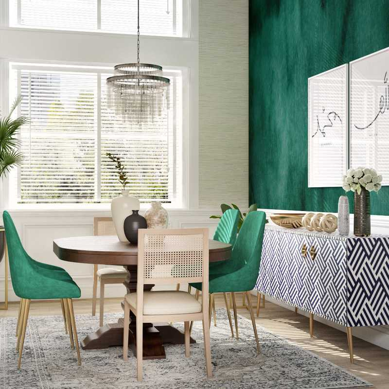 Eclectic, Bohemian, Midcentury Modern Dining Room Design by Havenly Interior Designer Ghianella