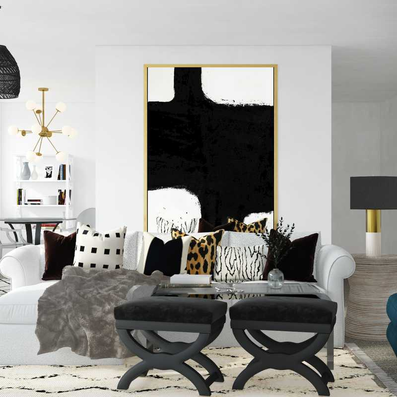 Modern, Bohemian, Glam Living Room Design by Havenly Interior Designer Hannah