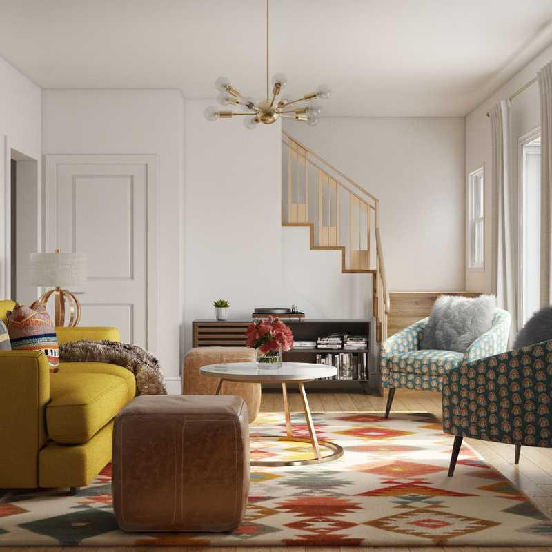 Bohemian, Midcentury Modern Living Room Design by Havenly Interior Designer Dipti