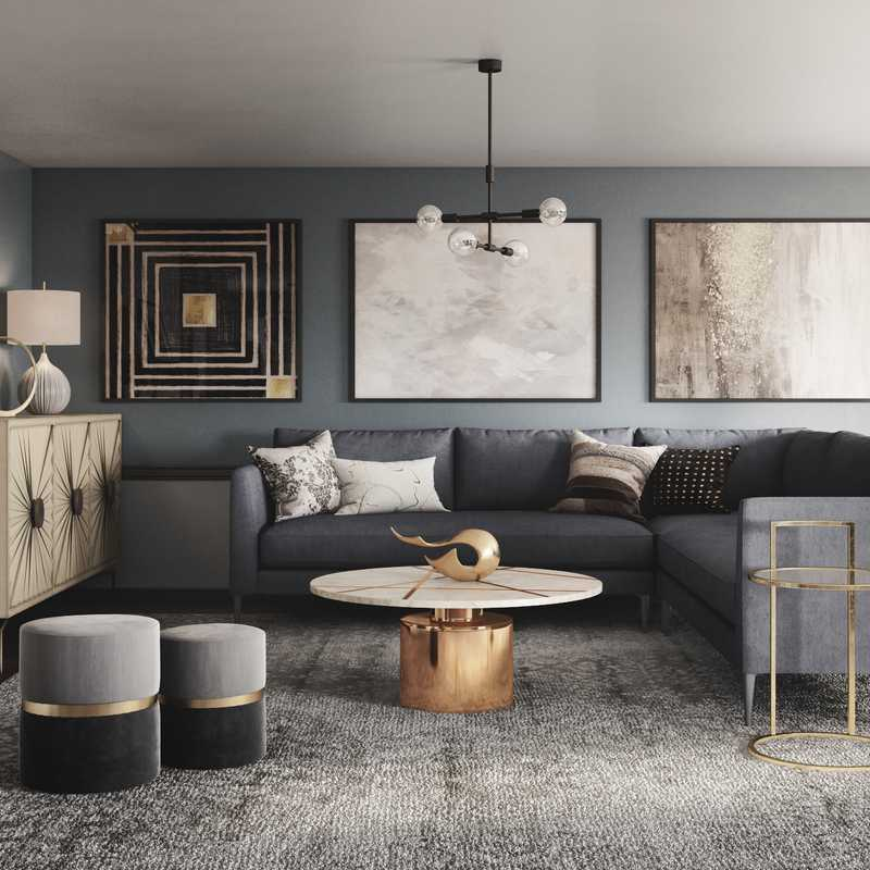 Contemporary, Modern, Glam, Transitional Living Room Design by Havenly Interior Designer Samantha