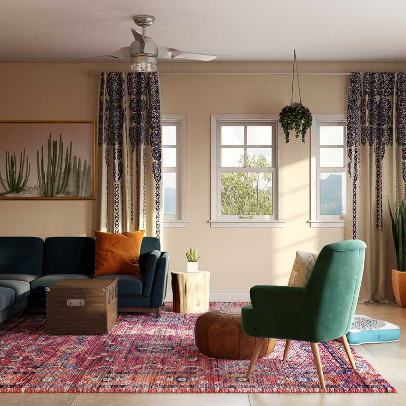 Bohemian, Midcentury Modern Living Room Design by Havenly Interior Designer Michelle