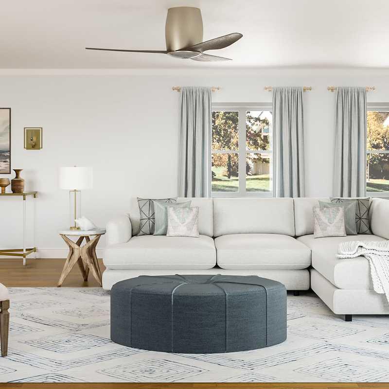 Coastal, Transitional Living Room Design by Havenly Interior Designer Brea