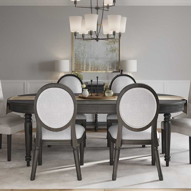 Classic, Transitional Dining Room Design by Havenly Interior Designer Leslie