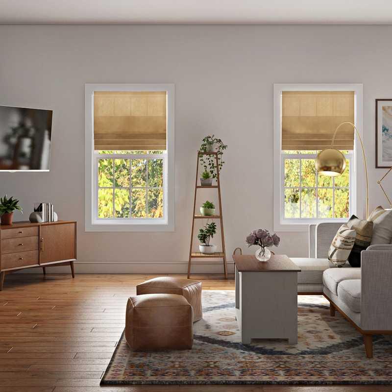 Bohemian, Rustic, Midcentury Modern Living Room Design by Havenly Interior Designer Janice