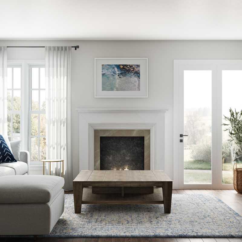 Contemporary, Coastal, Farmhouse Living Room Design by Havenly Interior Designer Elizabeth