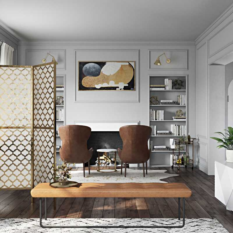 Contemporary, Glam Living Room Design by Havenly Interior Designer Brittney